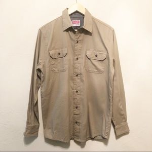 Men's Wrangler Tan Button Up Casual Shirt